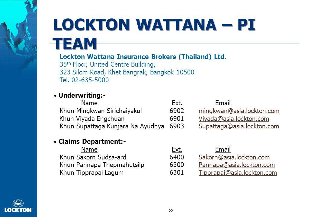 22 LOCKTON WATTANA – PI TEAM Lockton Wattana Insurance Brokers (Thailand) Ltd. 35 th Floor, United Centre Building, 323 Silom Road, Khet Bangrak, Bang
