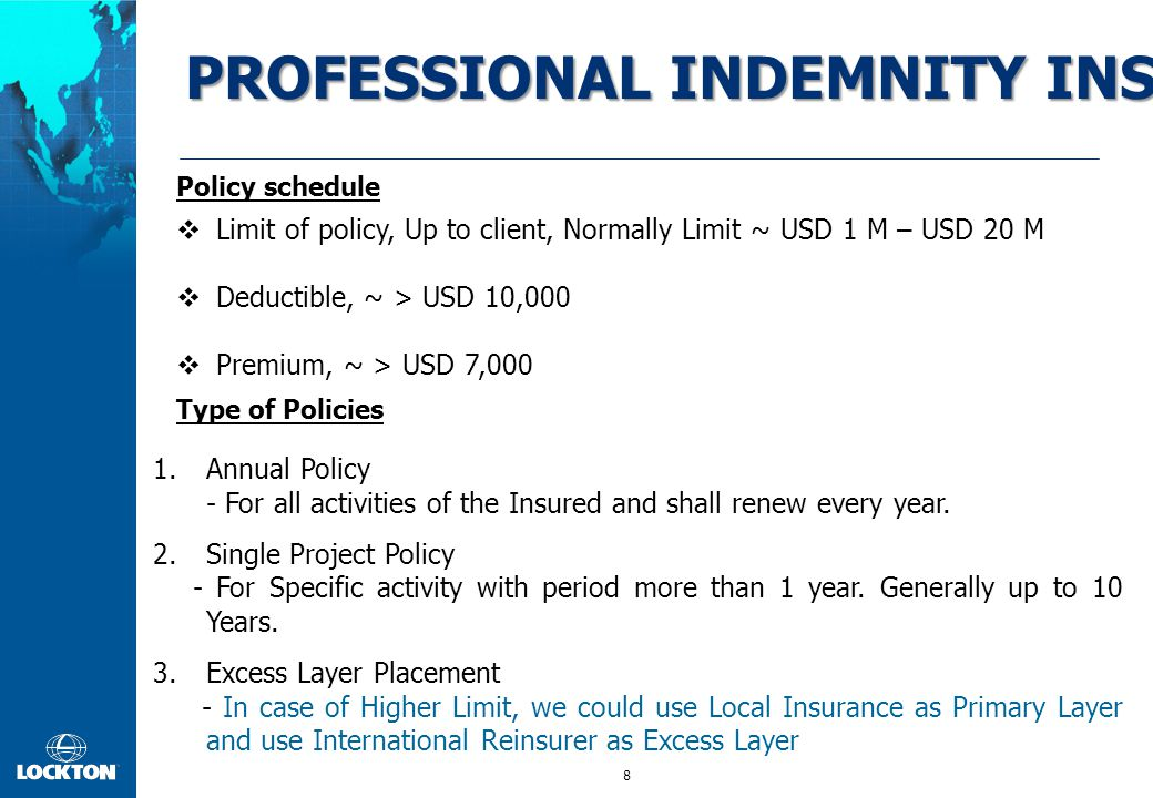 8  Limit of policy, Up to client, Normally Limit ~ USD 1 M – USD 20 M  Deductible, ~ > USD 10,000  Premium, ~ > USD 7,000 PROFESSIONAL INDEMNITY IN
