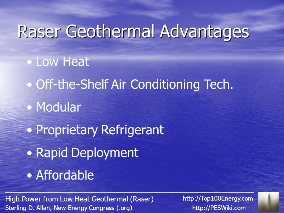 Raser Geothermal Advantages http://PESWiki.comSterling D.