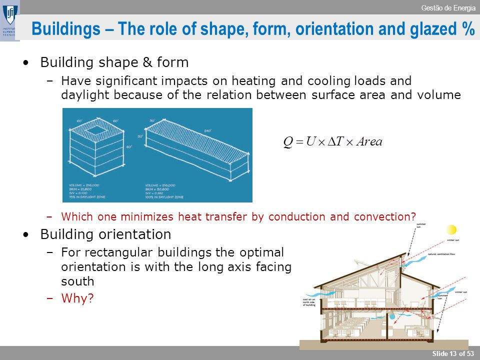 Gestão de Energia Slide 13 of 53 Buildings – The role of shape, form, orientation and glazed % Building shape & form –Have significant impacts on heat