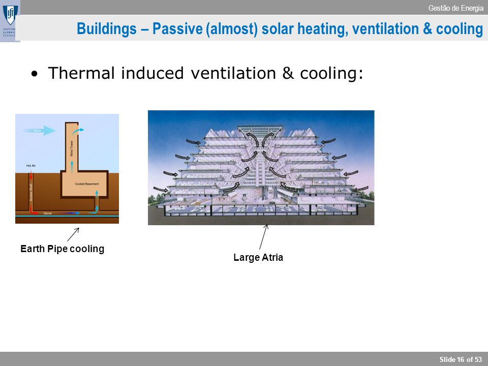 Gestão de Energia Slide 16 of 53 Buildings – Passive (almost) solar heating, ventilation & cooling Thermal induced ventilation & cooling: Earth Pipe c