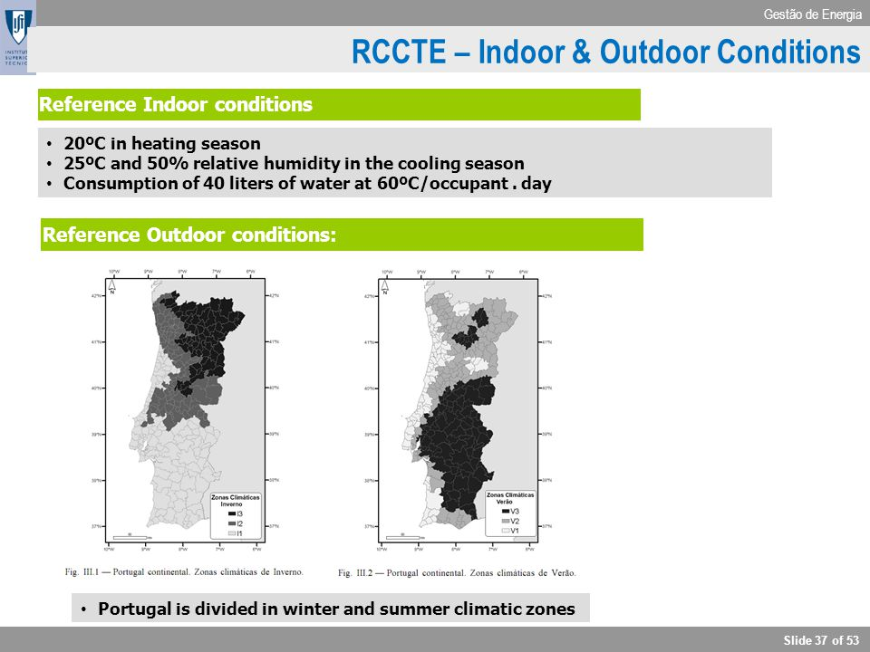Gestão de Energia Slide 37 of 53 RCCTE - Outdoor conditions Reference Outdoor conditions: Portugal is divided in winter and summer climatic zones Refe