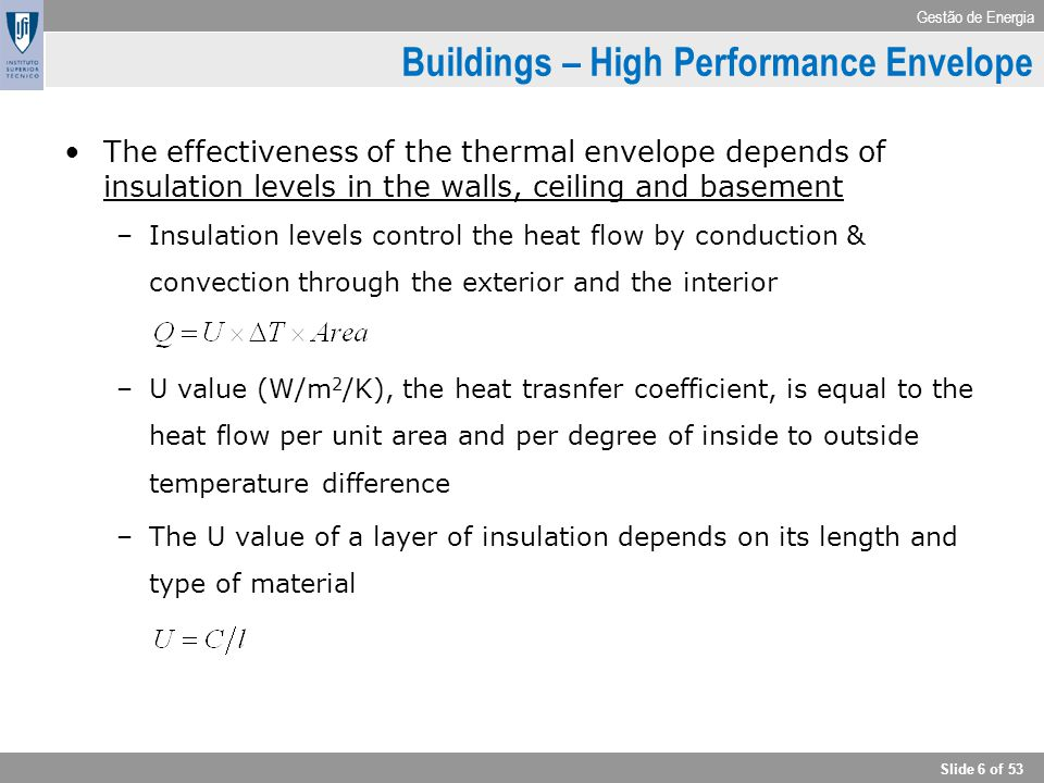 Gestão de Energia Slide 6 of 53 Buildings – High Performance Envelope The effectiveness of the thermal envelope depends of insulation levels in the wa