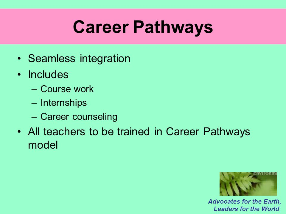 Career Pathways Seamless integration Includes –Course work –Internships –Career counseling All teachers to be trained in Career Pathways model Advocates for the Earth, Leaders for the World