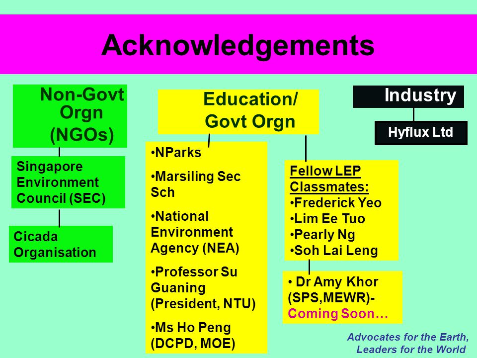 Acknowledgements Advocates for the Earth, Leaders for the World Non-Govt Orgn (NGOs) Singapore Environment Council (SEC) Cicada Organisation Education/ Govt Orgn Industry NParks Marsiling Sec Sch National Environment Agency (NEA) Professor Su Guaning (President, NTU) Ms Ho Peng (DCPD, MOE) Dr Amy Khor (SPS,MEWR)- Coming Soon… Hyflux Ltd Fellow LEP Classmates: Frederick Yeo Lim Ee Tuo Pearly Ng Soh Lai Leng