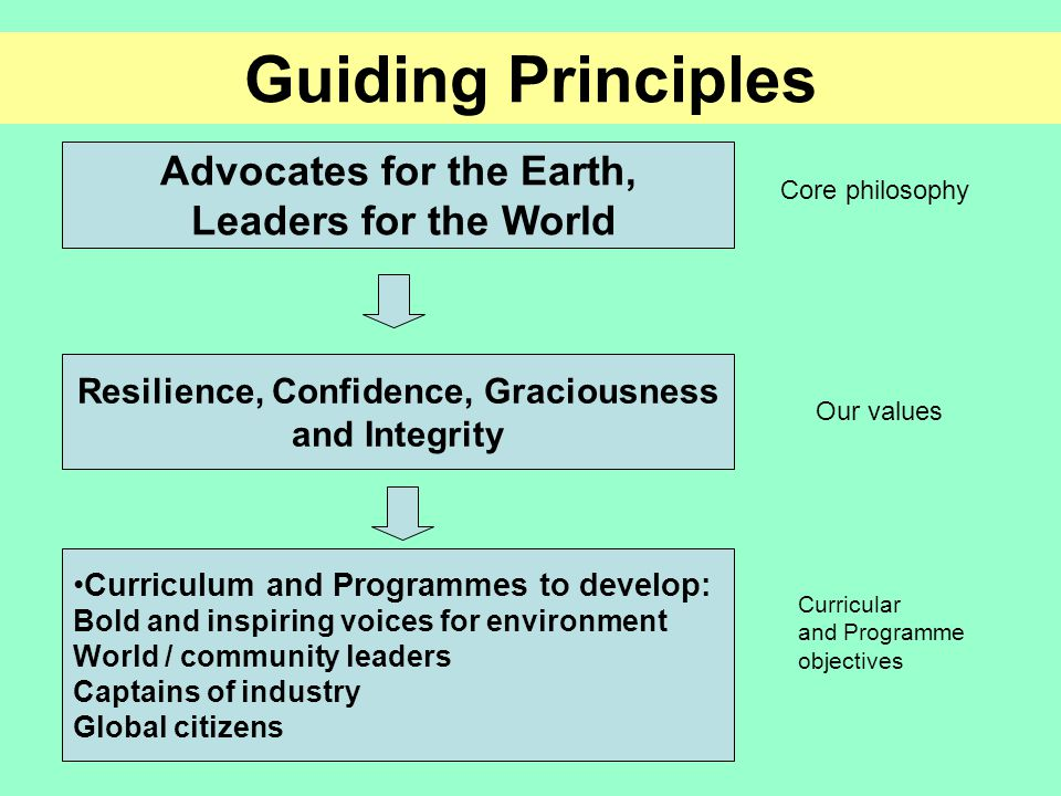 Resilience, Confidence, Graciousness and Integrity Advocates for the Earth, Leaders for the World Curriculum and Programmes to develop: Bold and inspiring voices for environment World / community leaders Captains of industry Global citizens Guiding Principles Core philosophy Our values Curricular and Programme objectives