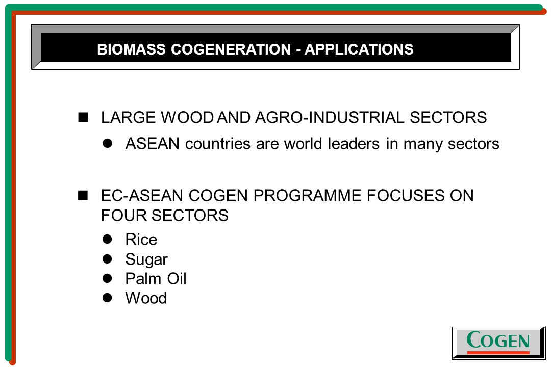 BIOMASS COGENERATION - APPLICATIONS LARGE WOOD AND AGRO-INDUSTRIAL SECTORS ASEAN countries are world leaders in many sectors EC-ASEAN COGEN PROGRAMME FOCUSES ON FOUR SECTORS Rice Sugar Palm Oil Wood