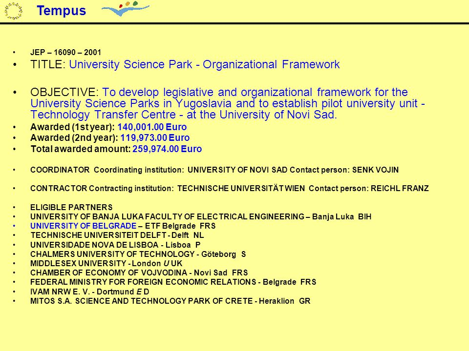 JEP – 16090 – 2001 TITLE: University Science Park - Organizational Framework OBJECTIVE: To develop legislative and organizational framework for the Un