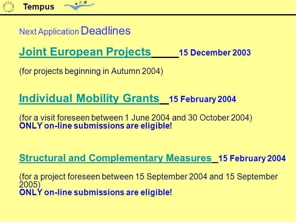 Next Application Deadlines Joint European Projects Joint European Projects 15 December 2003 (for projects beginning in Autumn 2004) Individual Mobilit