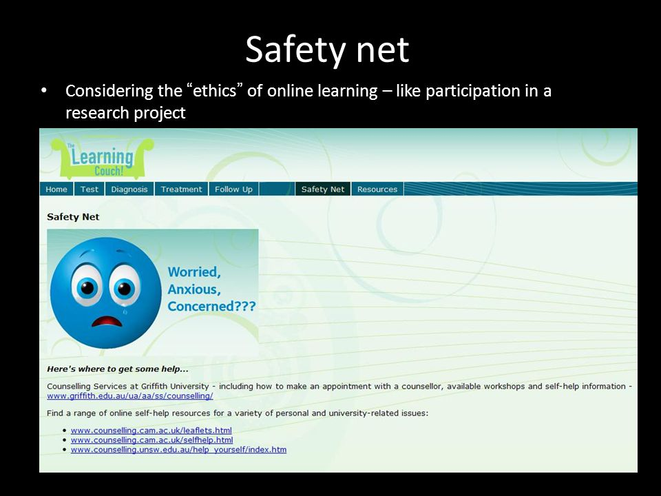 Safety net Considering the ethics of online learning – like participation in a research project