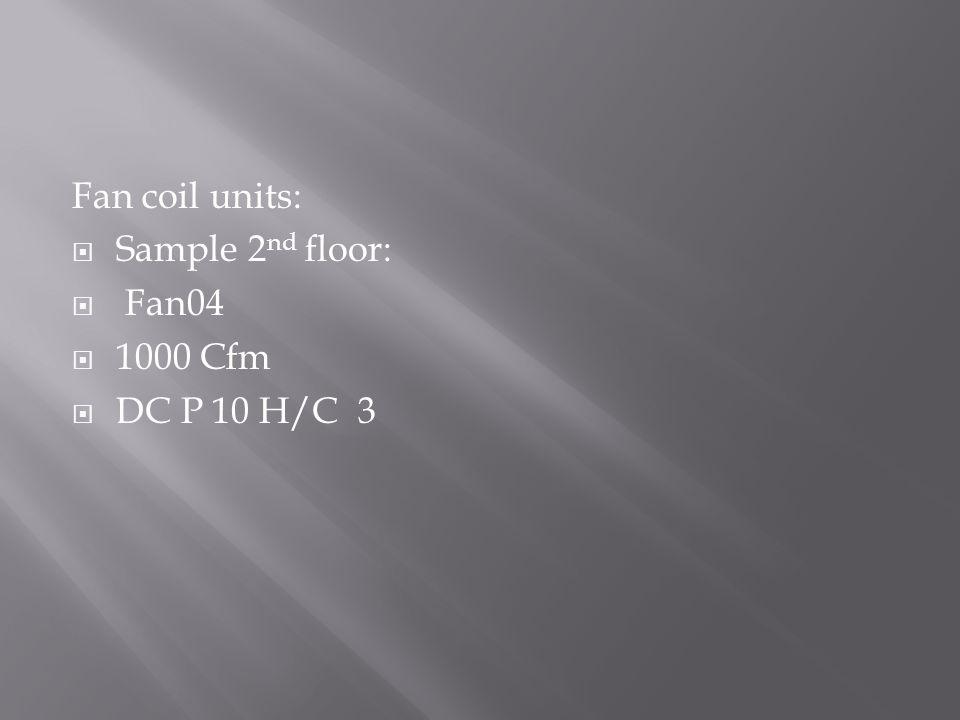 Fan coil units:  Sample 2 nd floor:  Fan04  1000 Cfm  DC P 10 H/C 3