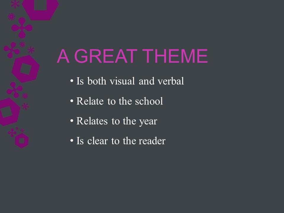Is both visual and verbal Relate to the school Relates to the year Is clear to the reader A GREAT THEME