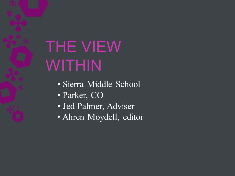 Sierra Middle School Parker, CO Jed Palmer, Adviser Ahren Moydell, editor THE VIEW WITHIN