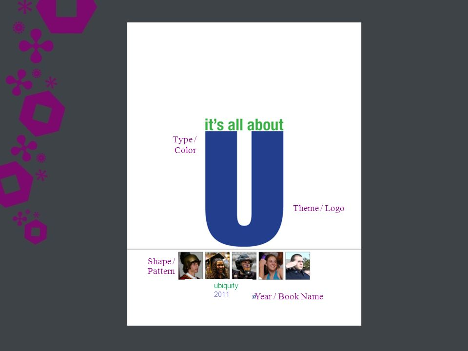 Theme / Logo Year / Book Name Shape / Pattern Type / Color ubiquity 2011