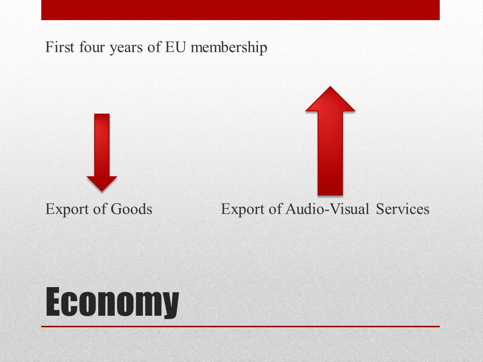 Economy First four years of EU membership Export of Goods Export of Audio-Visual Services