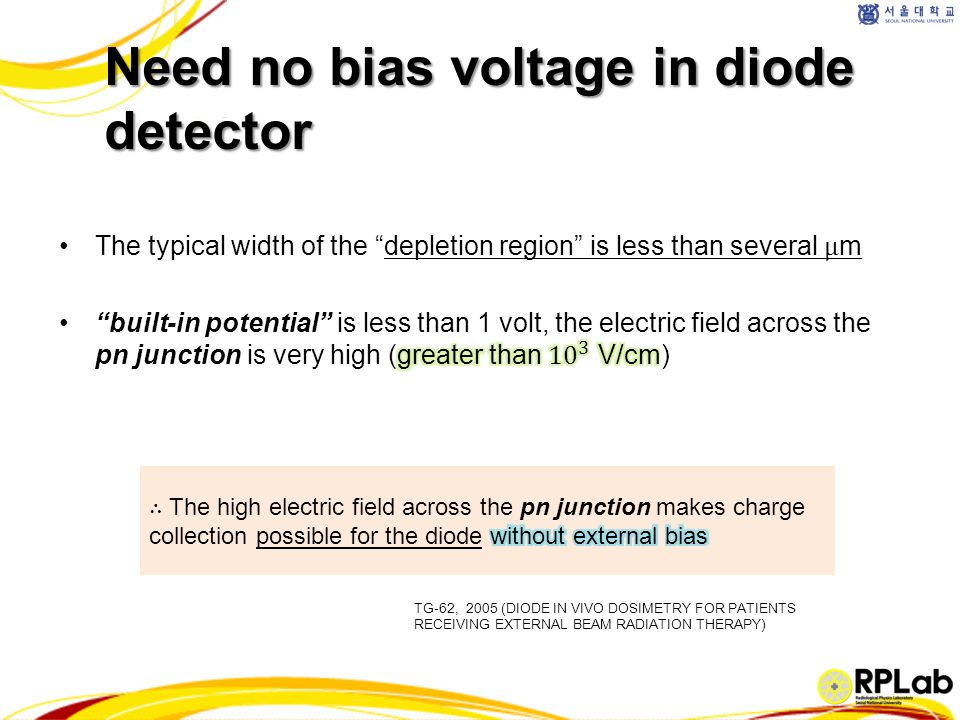 Need no bias voltage in diode detector TG-62, 2005 (DIODE IN VIVO DOSIMETRY FOR PATIENTS RECEIVING EXTERNAL BEAM RADIATION THERAPY)