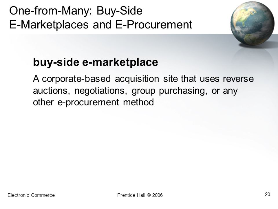 Electronic CommercePrentice Hall © 2006 23 One-from-Many: Buy-Side E-Marketplaces and E-Procurement buy-side e-marketplace A corporate-based acquisiti