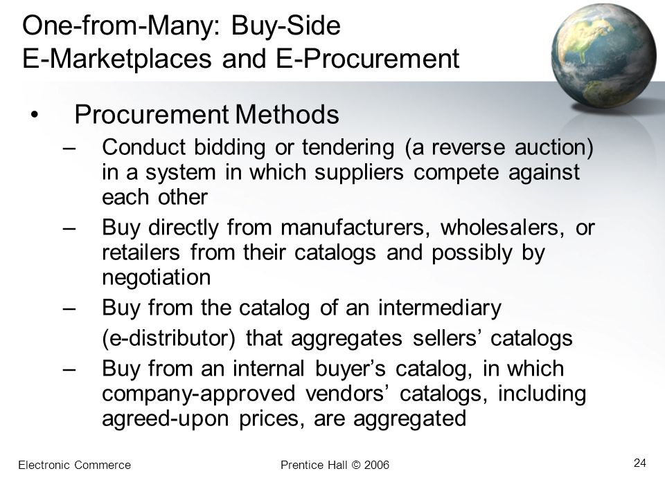 Electronic CommercePrentice Hall © 2006 24 One-from-Many: Buy-Side E-Marketplaces and E-Procurement Procurement Methods –Conduct bidding or tendering