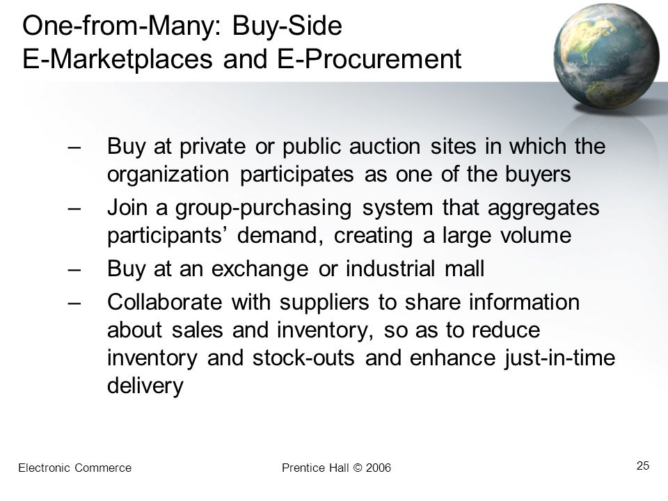 Electronic CommercePrentice Hall © 2006 25 One-from-Many: Buy-Side E-Marketplaces and E-Procurement –Buy at private or public auction sites in which t