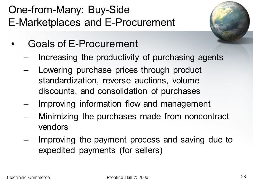 Electronic CommercePrentice Hall © 2006 28 One-from-Many: Buy-Side E-Marketplaces and E-Procurement Goals of E-Procurement –Increasing the productivit