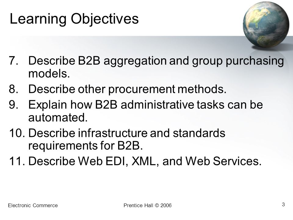 Electronic CommercePrentice Hall © 2006 3 Learning Objectives 7.Describe B2B aggregation and group purchasing models. 8.Describe other procurement met