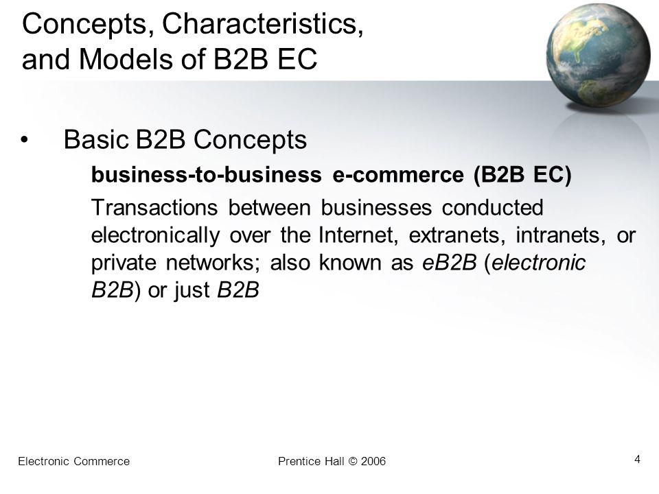 Electronic CommercePrentice Hall © 2006 4 Concepts, Characteristics, and Models of B2B EC Basic B2B Concepts business-to-business e-commerce (B2B EC)