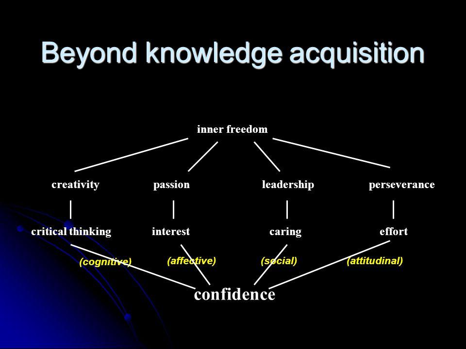 Beyond knowledge acquisition confidence effortcaringinterestcritical thinking (cognitive) (affective)(social)(attitudinal) perseveranceleadershippassion creativity inner freedom