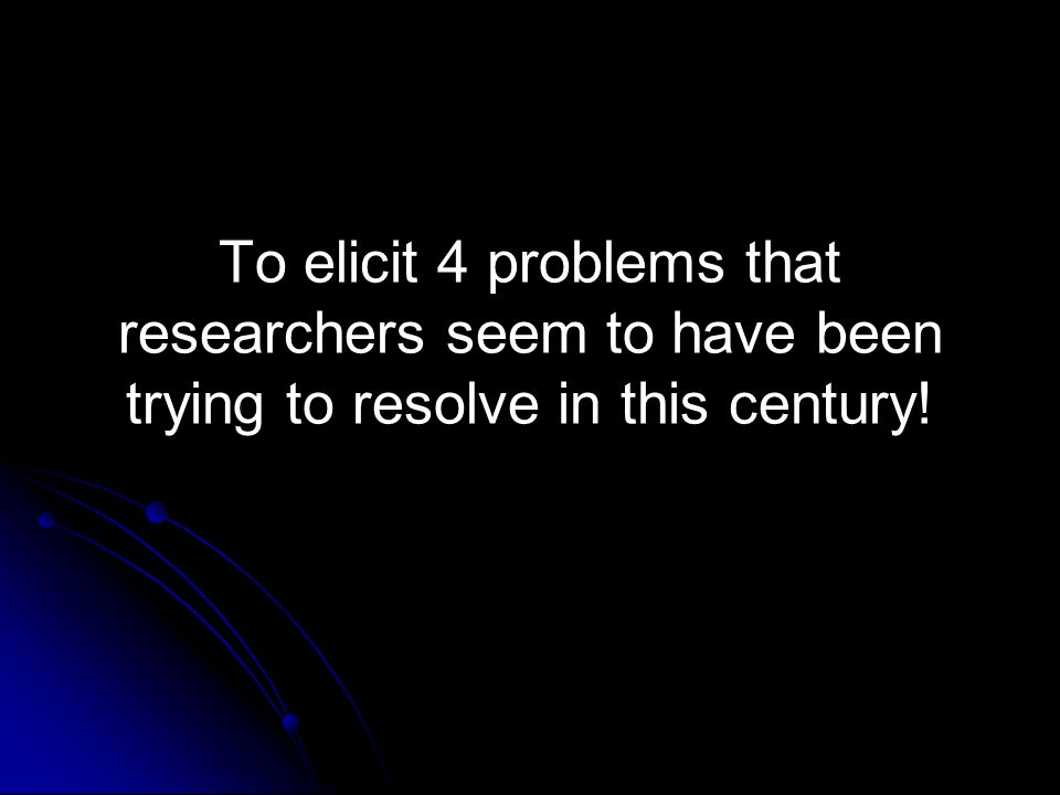 To elicit 4 problems that researchers seem to have been trying to resolve in this century!