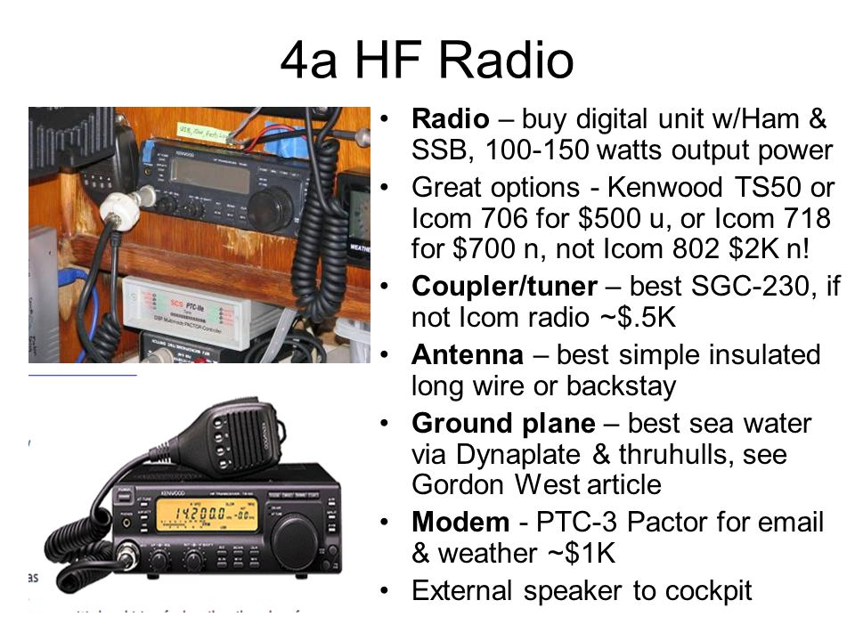 4a HF Radio Radio – buy digital unit w/Ham & SSB, 100-150 watts output power Great options - Kenwood TS50 or Icom 706 for $500 u, or Icom 718 for $700 n, not Icom 802 $2K n.