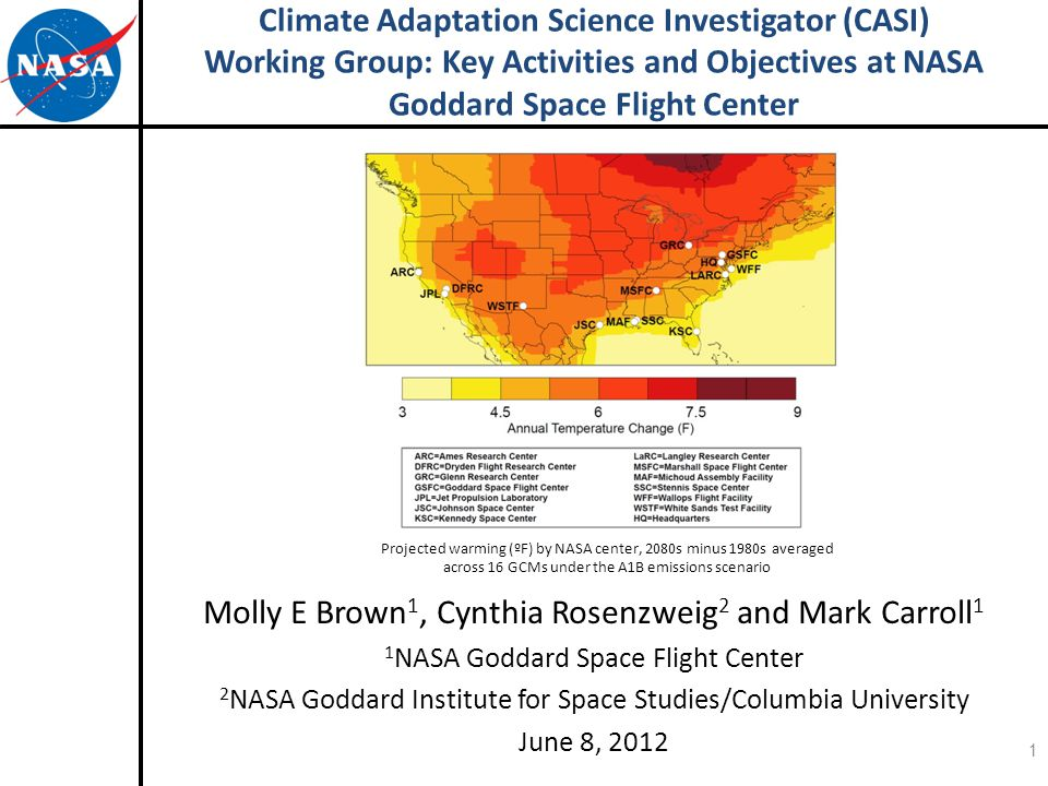 Climate Adaptation Science Investigator (CASI) Working Group: Key Activities and Objectives at NASA Goddard Space Flight Center Molly E Brown 1, Cynthia Rosenzweig 2 and Mark Carroll 1 1 NASA Goddard Space Flight Center 2 NASA Goddard Institute for Space Studies/Columbia University June 8, 2012 Projected warming (ºF) by NASA center, 2080s minus 1980s averaged across 16 GCMs under the A1B emissions scenario 1
