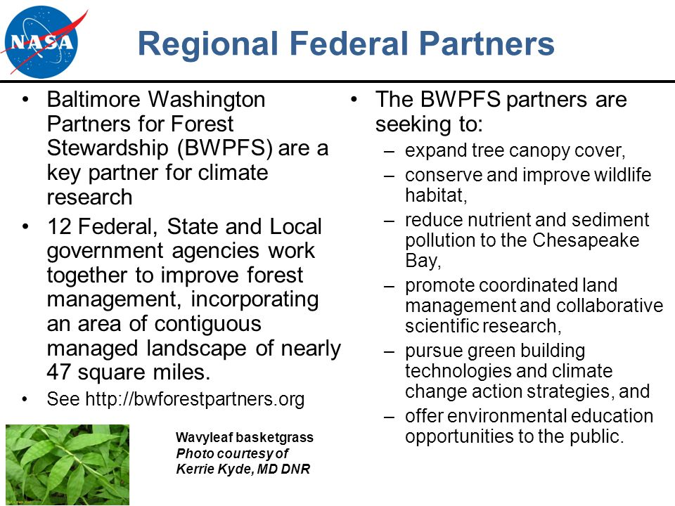 Regional Federal Partners Baltimore Washington Partners for Forest Stewardship (BWPFS) are a key partner for climate research 12 Federal, State and Local government agencies work together to improve forest management, incorporating an area of contiguous managed landscape of nearly 47 square miles.