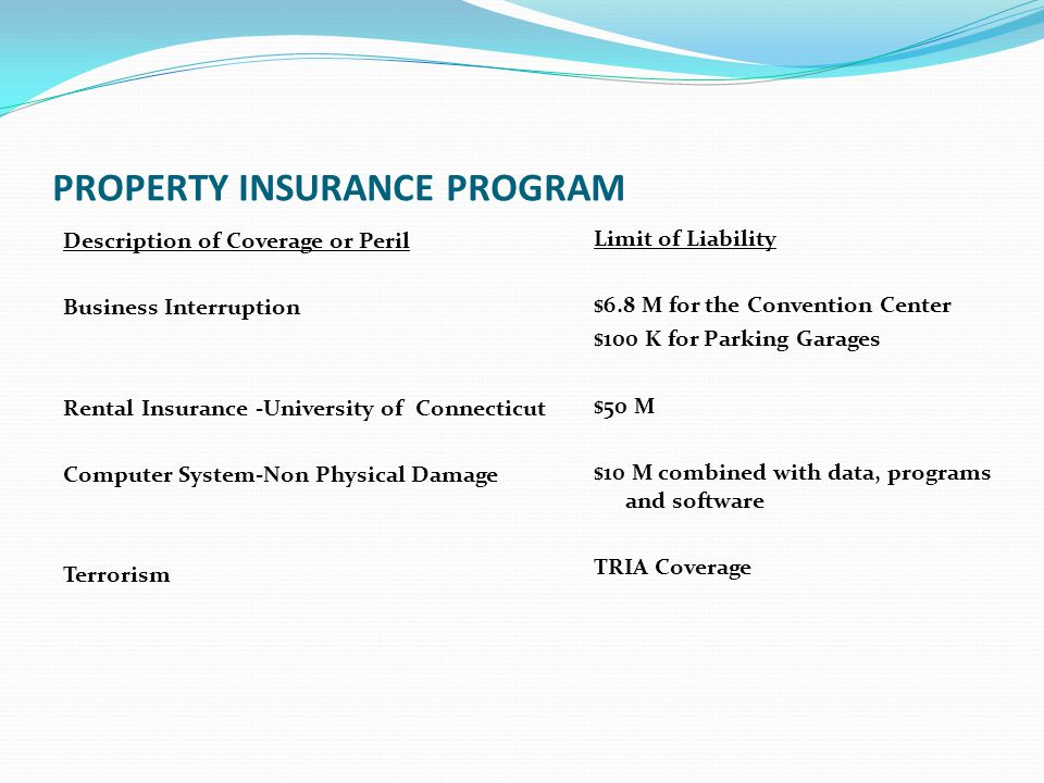 PROPERTY INSURANCE PROGRAM Description of Coverage or Peril Business Interruption Rental Insurance -University of Connecticut Computer System-Non Phys