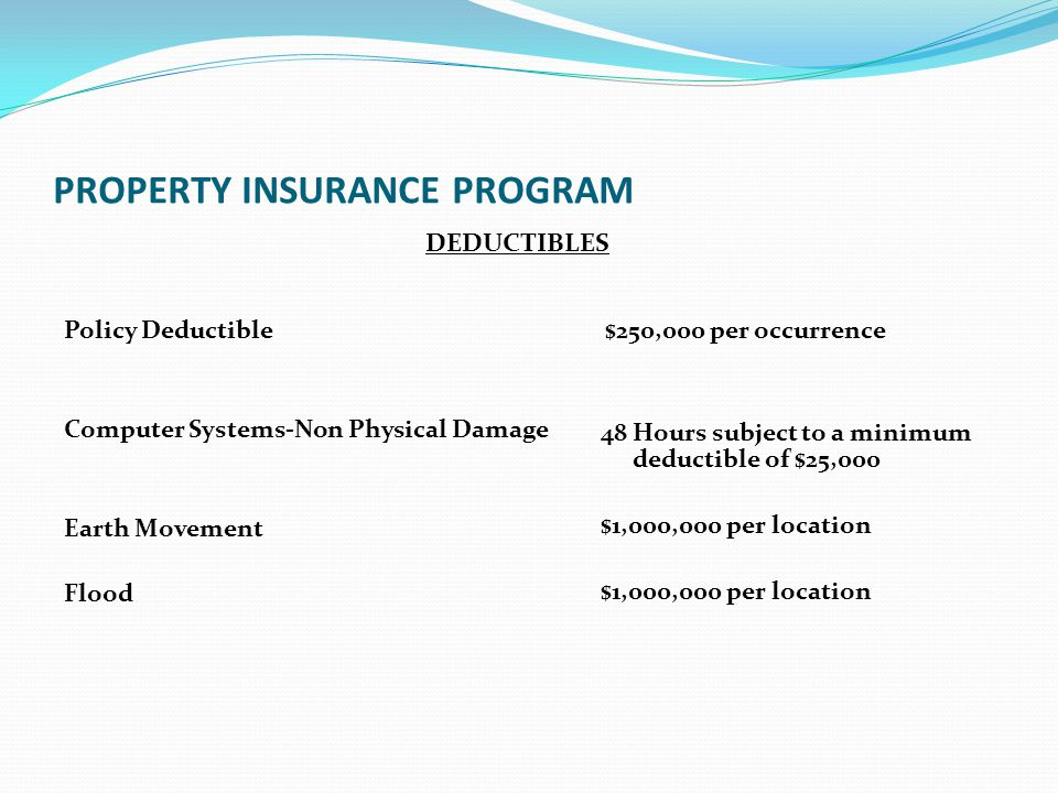 PROPERTY INSURANCE PROGRAM DEDUCTIBLES Policy Deductible $250,000 per occurrence Computer Systems-Non Physical Damage Earth Movement Flood 48 Hours su