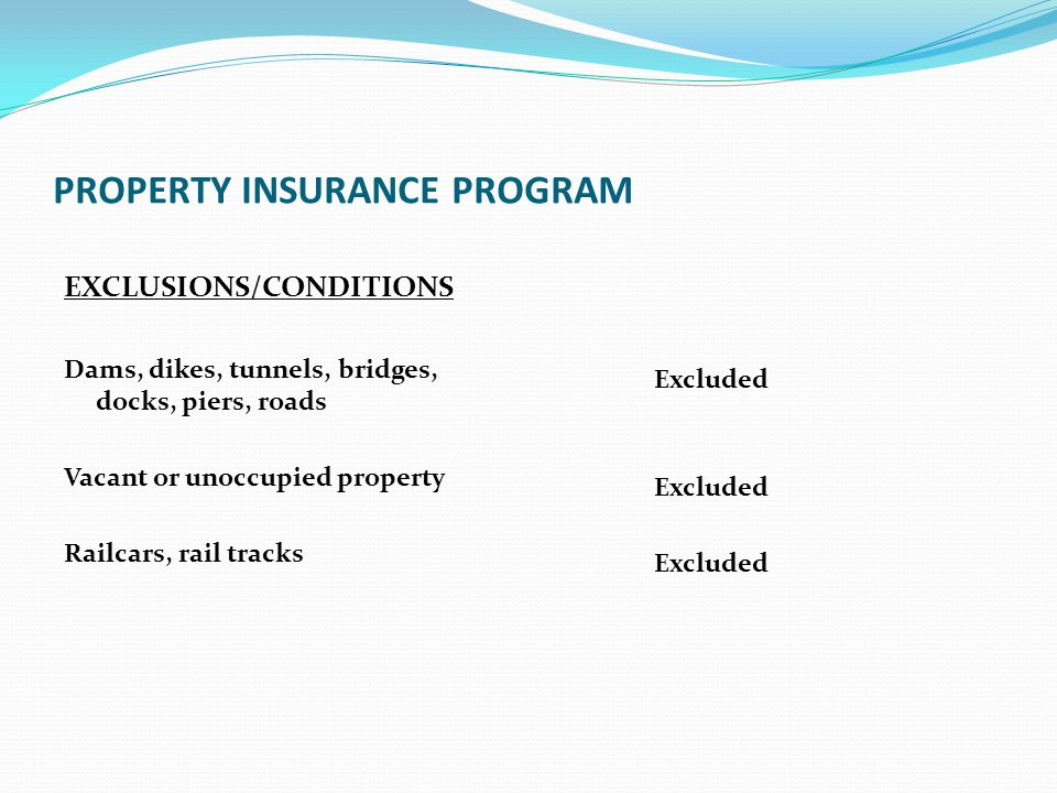 PROPERTY INSURANCE PROGRAM EXCLUSIONS/CONDITIONS Dams, dikes, tunnels, bridges, docks, piers, roads Vacant or unoccupied property Railcars, rail track