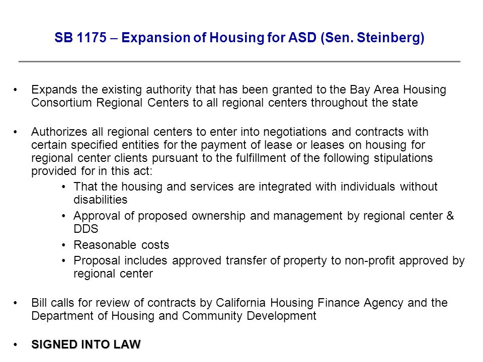 SB 1175 – Expansion of Housing for ASD (Sen.