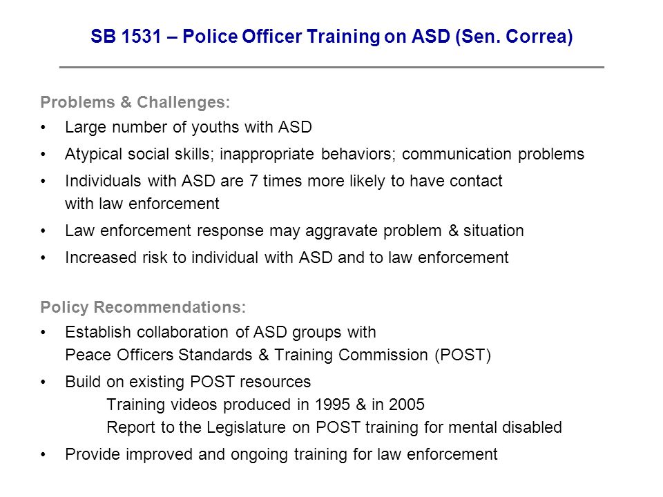 SB 1531 – Police Officer Training on ASD (Sen.