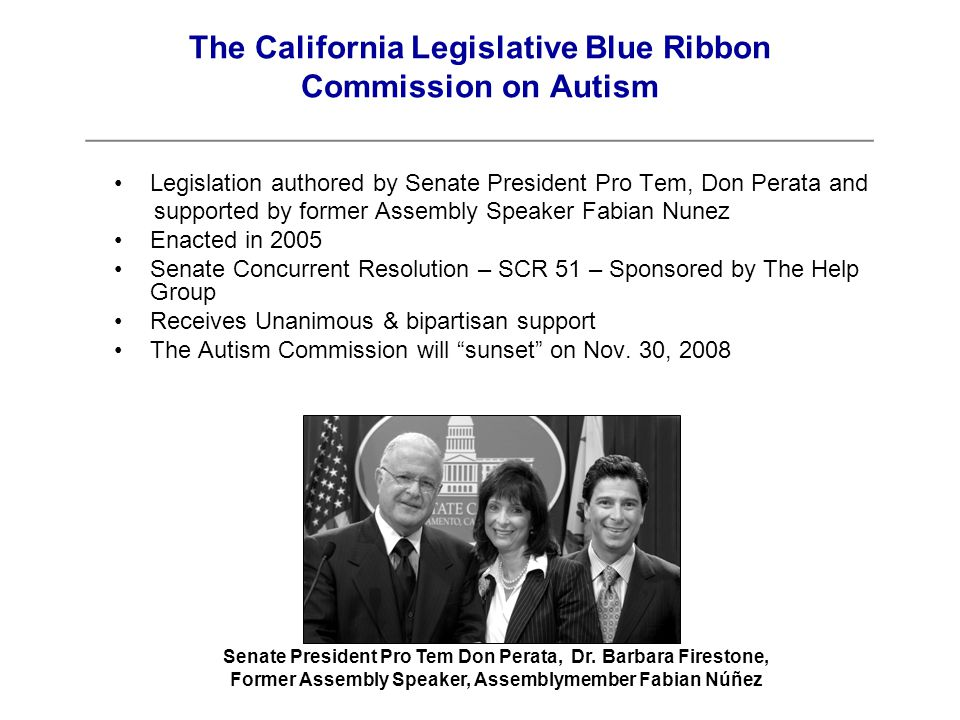 Autism Commission Goals Identify Existing Problems & Gaps Review Potential Strategies Provide Specific Recommendations The California Legislative Blue Ribbon Commission on Autism ____________________________________________