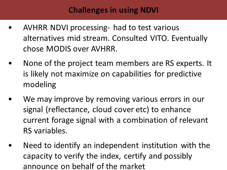 Challenges in using NDVI AVHRR NDVI processing- had to test various alternatives mid stream.