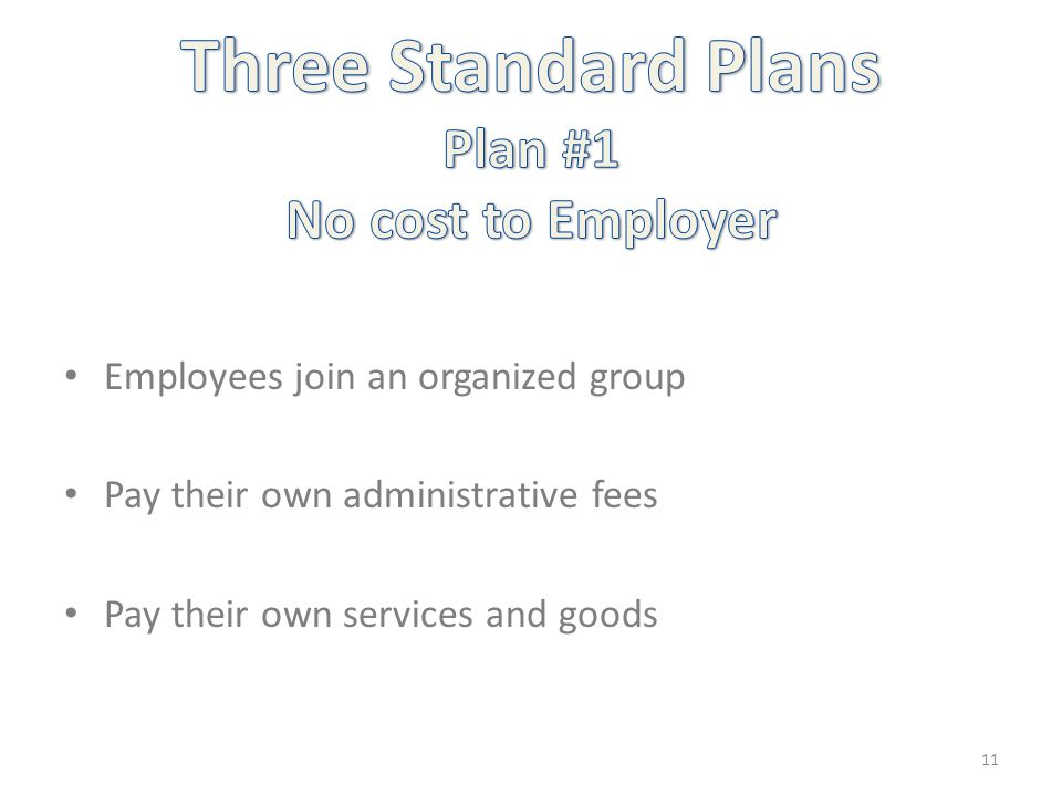 Employees join an organized group Pay their own administrative fees Pay their own services and goods 11