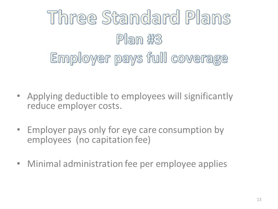 Applying deductible to employees will significantly reduce employer costs. Employer pays only for eye care consumption by employees (no capitation fee