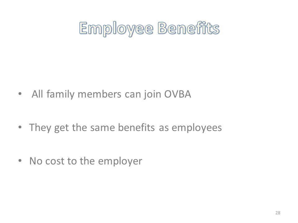 All family members can join OVBA They get the same benefits as employees No cost to the employer 28