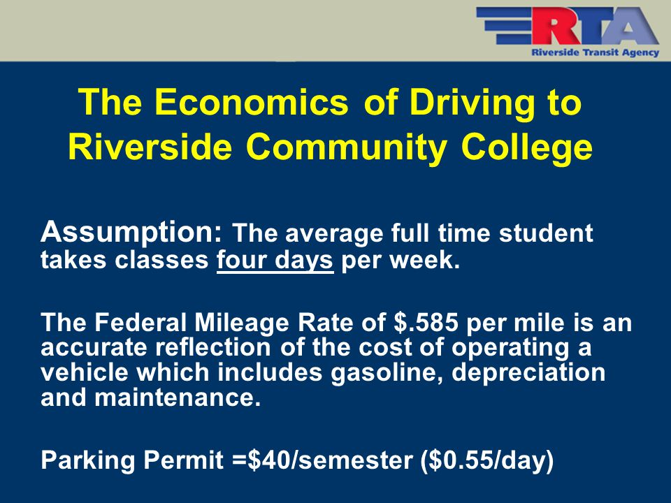 Assumption: The average full time student takes classes four days per week. The Federal Mileage Rate of $.585 per mile is an accurate reflection of th
