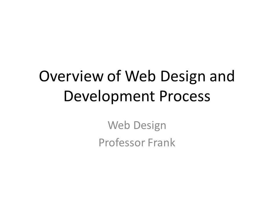 Overview of Web Design and Development Process Web Design Professor Frank