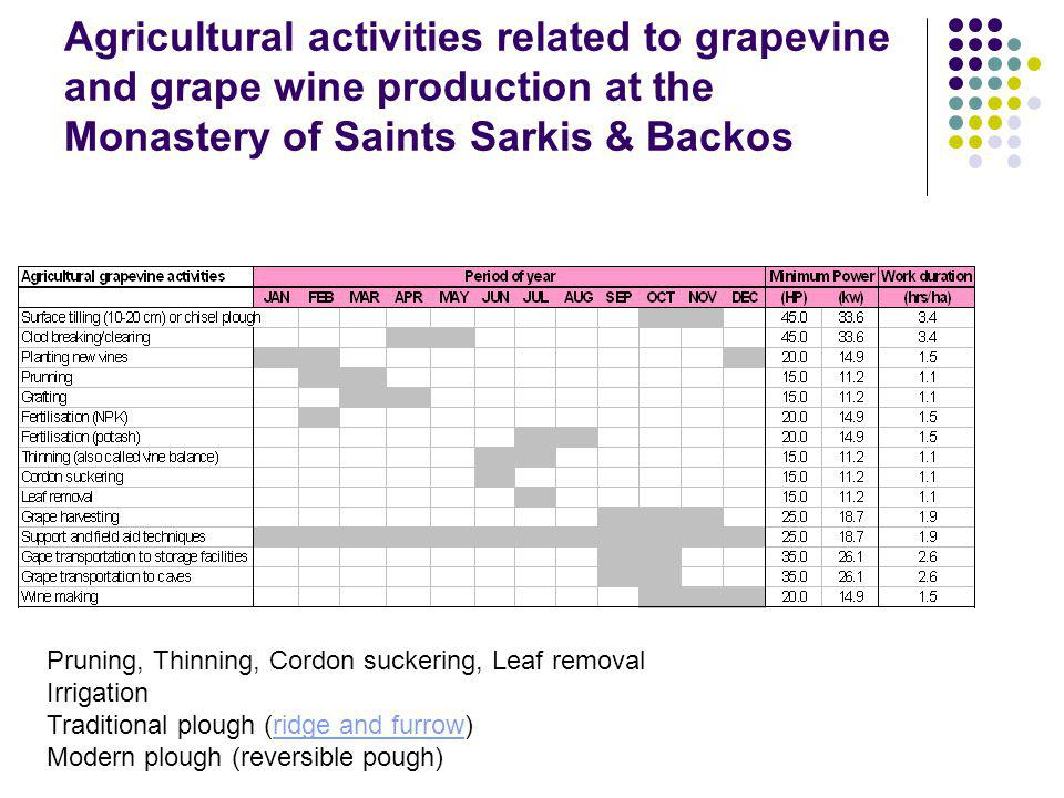 Agricultural activities related to grapevine and grape wine production at the Monastery of Saints Sarkis & Backos Pruning, Thinning, Cordon suckering, Leaf removal Irrigation Traditional plough (ridge and furrow)ridge and furrow Modern plough (reversible pough)