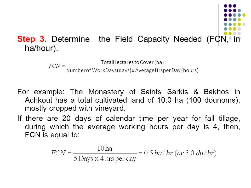 Step 3. Determine the Field Capacity Needed (FCN, in ha/hour).