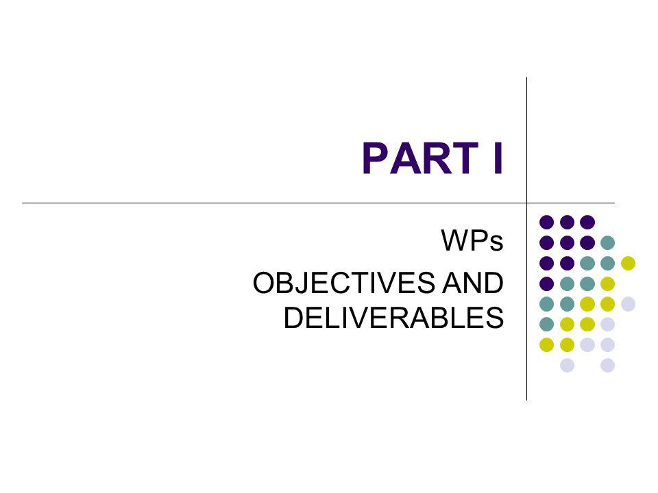PART I WPs OBJECTIVES AND DELIVERABLES