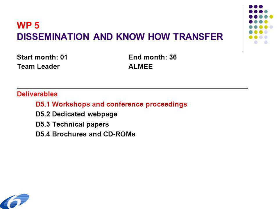 WP 5 DISSEMINATION AND KNOW HOW TRANSFER Start month: 01End month: 36 Team LeaderALMEE ____________________________________________________________ Deliverables D5.1 Workshops and conference proceedings D5.2 Dedicated webpage D5.3 Technical papers D5.4 Brochures and CD-ROMs