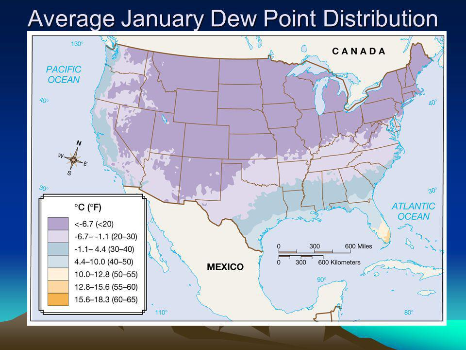 Average January Dew Point Distribution