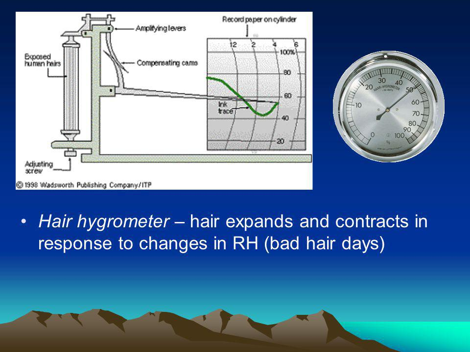 Hair hygrometer – hair expands and contracts in response to changes in RH (bad hair days)