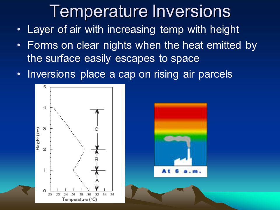 Temperature Inversions Layer of air with increasing temp with height Forms on clear nights when the heat emitted by the surface easily escapes to space Inversions place a cap on rising air parcels